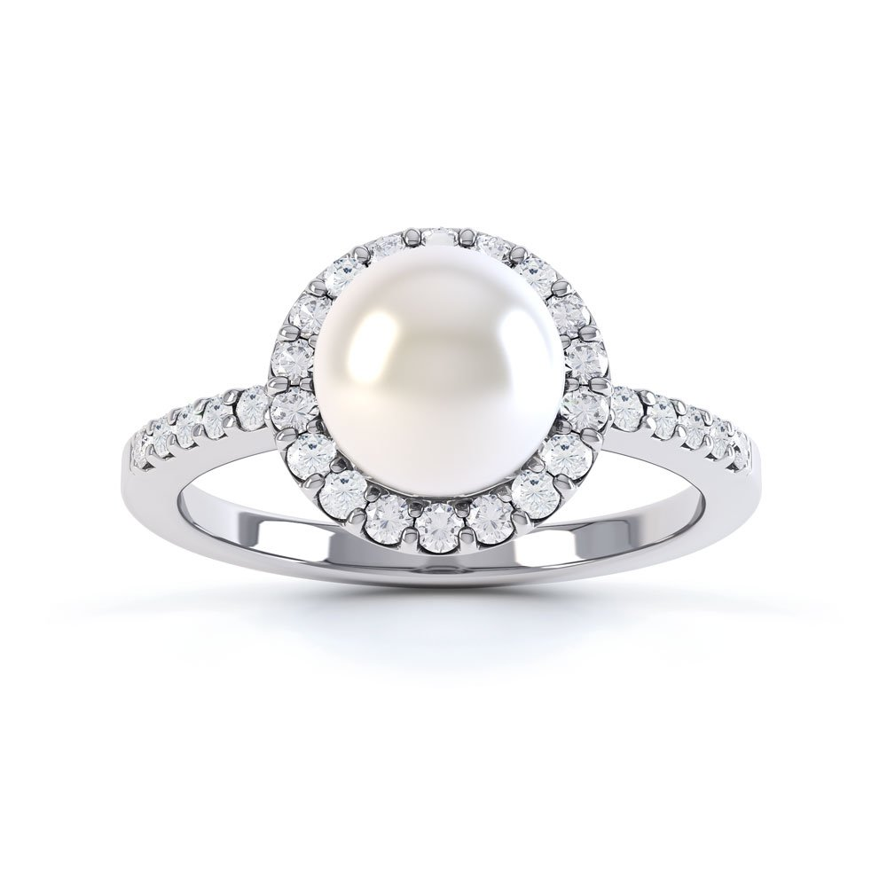 Venus Pearl Halo 18ct White Gold Engagement Ring