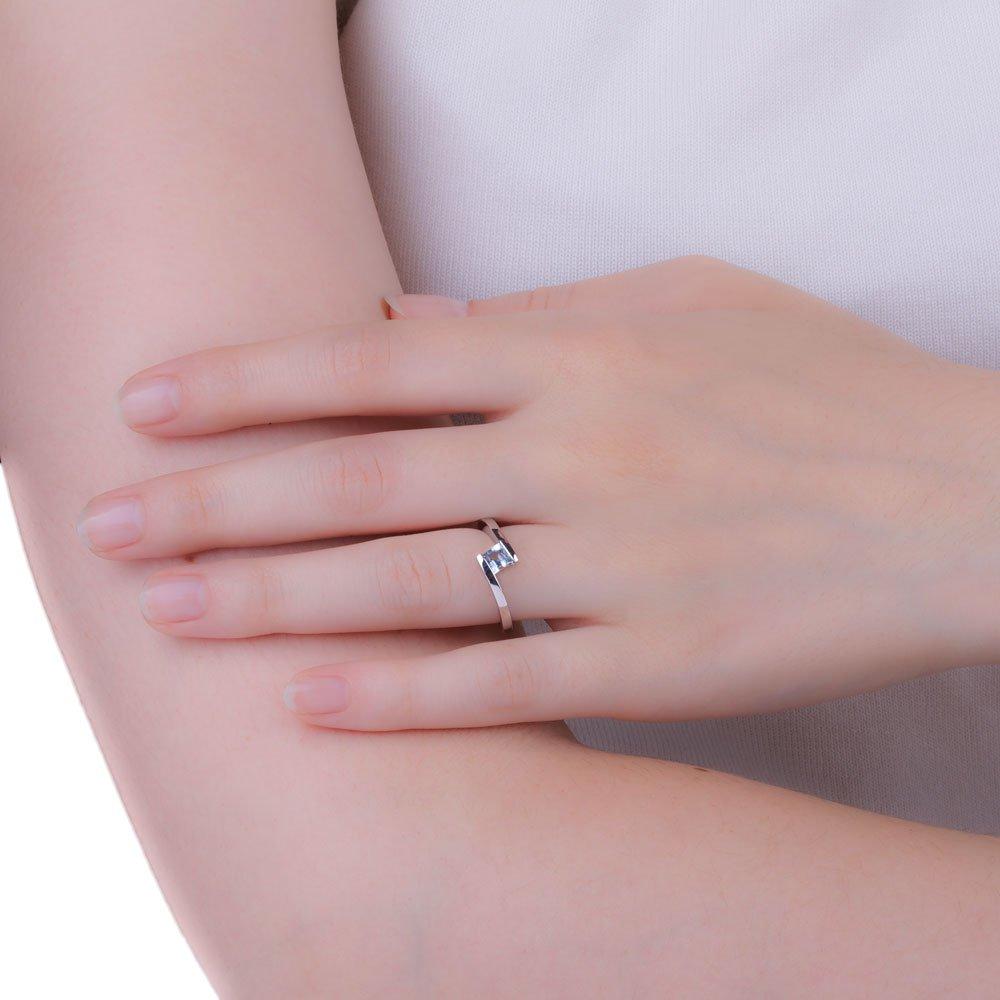 Aquamarine Square 18ct White Gold Stackable Ring:Jian London:18ct ...