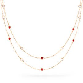 By the Yard Ruby 18ct Rose Gold Vermeil Necklace
