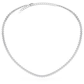 Infinity Diamond CZ Rhodium plated Silver Tennis Necklace