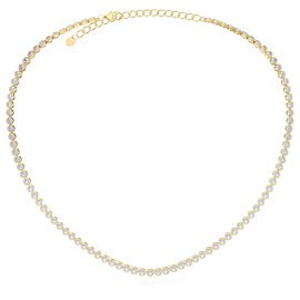 Infinity Diamond CZ 18K Gold plated Silver Tennis Necklace