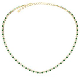 Infinity Emerald CZ 18K Gold plated Silver Tennis Necklace