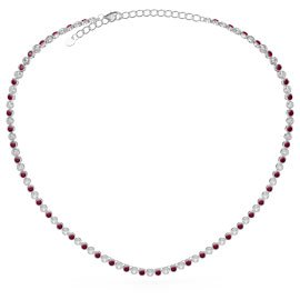 Infinity Ruby CZ Rhodium plated Silver Tennis Necklace