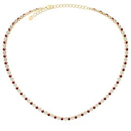 Infinity Ruby 18ct Gold Vermeil Tennis Necklace