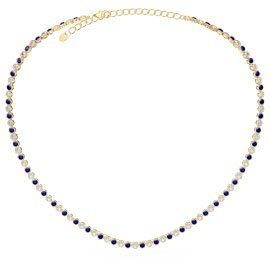 Infinity Sapphire CZ 18ct Gold plated Silver Tennis Necklace
