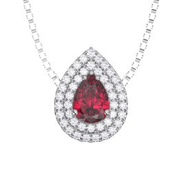 Fusion Ruby Halo Platinum plated Silver Pear Pendant