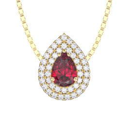 Fusion Ruby Halo 18ct Gold Vermeil Pear Pendant