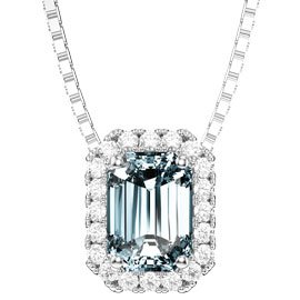 Princess Aquamarine and Diamond 18ct White Gold Rectangle Pendant