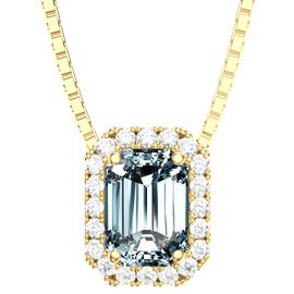 Princess Aquamarine and Diamond 18ct Yellow Gold  Rectangle Pendant