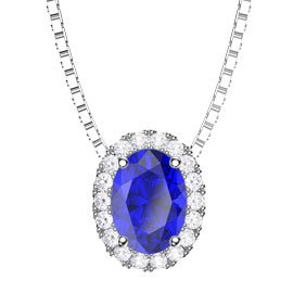 Eternity Blue Sapphire and Diamond Halo 18ct White Gold Oval Pendant