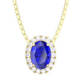 Eternity Blue Sapphire and Diamond Halo 18ct Yellow Gold Oval Pendant