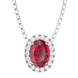 Eternity Ruby and Diamond Halo 18ct White Gold Oval Pendant