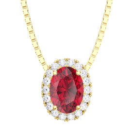 Eternity Ruby and Diamond 18ct Yellow Gold Oval Pendant