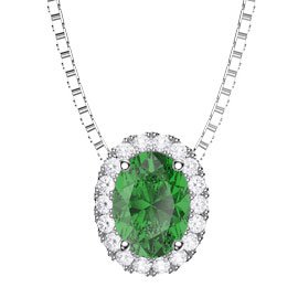 Eternity Emerald and Diamond 18ct White Gold Halo Oval Pendant