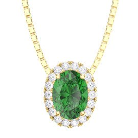 Eternity Emerald and Diamond 18ct Yellow Gold Halo Oval Pendant
