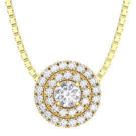 Fusion White Sapphire 18ct Yellow Gold Halo Pendant