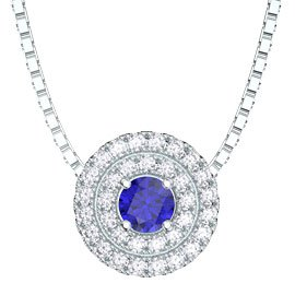 Fusion Sapphire and Diamond Halo 18ct White Gold Pendant