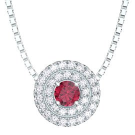 Fusion Ruby Halo Platinum plated Silver Pendant