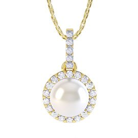 Venus Akoya Pearl and Diamond Halo 18ct Yellow Gold Pendant
