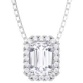 Princess 1ct White Sapphire Platinum plated Silver Rectangle Pendant