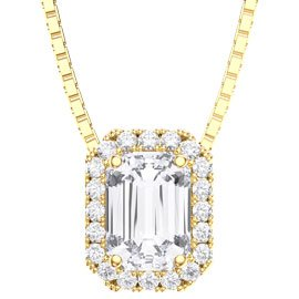Princess 1ct White Sapphire and Diamond 18ct Yellow Gold Rectangle Pendant