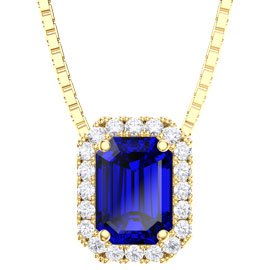 Princess 1ct Blue Sapphire and Diamond 18ct Yellow Gold Rectangle Pendant