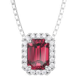 Princess 1ct Ruby and Diamond 18ct White Gold Rectangle Pendant