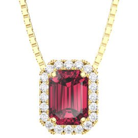 Princess 1ct Ruby and Diamond 18ct Yellow Gold Rectangle Pendant