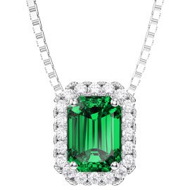 Princess 1ct Emerald and Diamond 18ct White Gold Rectangle Pendant