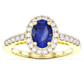 Eternity Sapphire Oval Halo 18ct Yellow Gold Engagement Ring