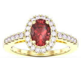 Eternity Ruby Oval Halo 18ct Yellow Gold Engagement Ring