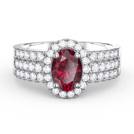 Eternity Ruby Oval Halo 18ct White Gold Engagement Ring Set 2D
