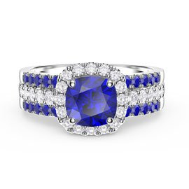 Princess Cushion Sapphire Halo and Two Sapphire Half Eternity Platinum plated Silver Promise Ring Set