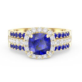 Princess Cushion Sapphire Halo and Two Sapphire Half Eternity 18ct Gold Vermeil Promise Ring Set