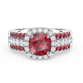 Princess Cushion Ruby Halo and Two Ruby Half Eternity Platinum plated Silver Promise Ring Set