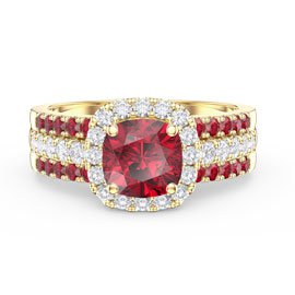 Princess Cushion Ruby Halo and Two Ruby Half Eternity 18ct Gold Vermeil Promise Ring Set