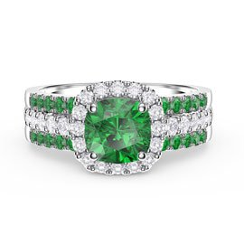 Princess Emerald Cushion Cut Halo and Two Emerald Half Eternity Platinum plated Silver Promise Ring Set