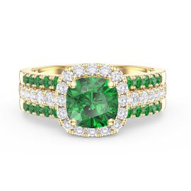 Princess Emerald Cushion Cut Halo and Two Emerald Half Eternity 18ct Gold Vermeil Promise Ring Set