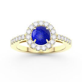 Lapis Halo 18ct Yellow Gold Proprosal Ring