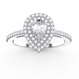 Fusion White Sapphire Pear Halo Platinum plated Silver Promise Ring