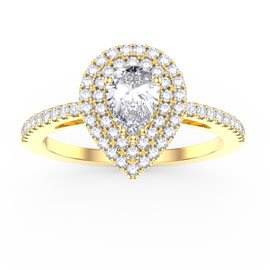 Fusion White Sapphire Pear Halo 18ct Gold Vermeil Promise Ring