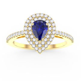Fusion Sapphire Pear Halo 18ct Gold Vermeil Promise Ring
