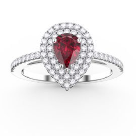 Fusion Ruby Pear Halo Platinum plated Silver Promise Ring