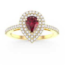 Fusion Ruby Pear Halo 18ct Gold Vermeil Promise Ring