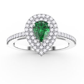 Fusion Emerald Pear Halo Platinum plated Silver Promise Ring
