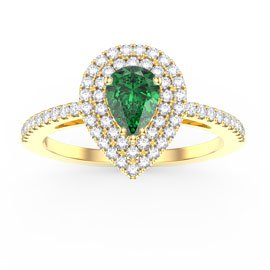 Fusion Emerald Pear Halo 18ct Gold Vermeil Promise Ring