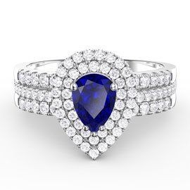 Fusion Sapphire Pear White Eternity Platinum plated Silver Promise Ring Set