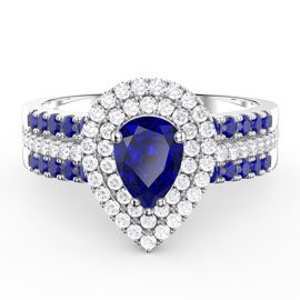 Fusion Blue Sapphire Pear Halo and Blue Sapphire Eternity Platinum plated Silver Promise Ring Set