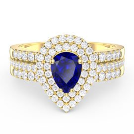 Fusion Sapphire Pear White Eternity 18ct Gold Vermeil Promise Ring Set