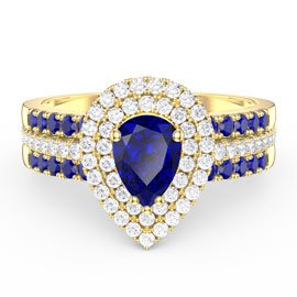 Fusion Sapphire Pear Halo and Sapphire Eternity 18ct Gold Vermeil Promise Ring Set